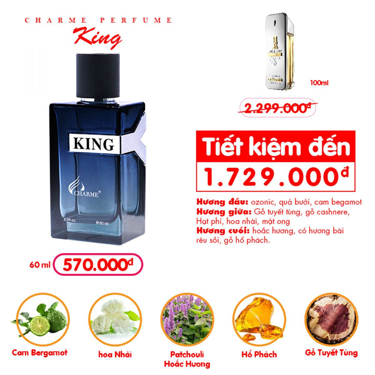 Charme - King 60ml - Nuoc hoa nam