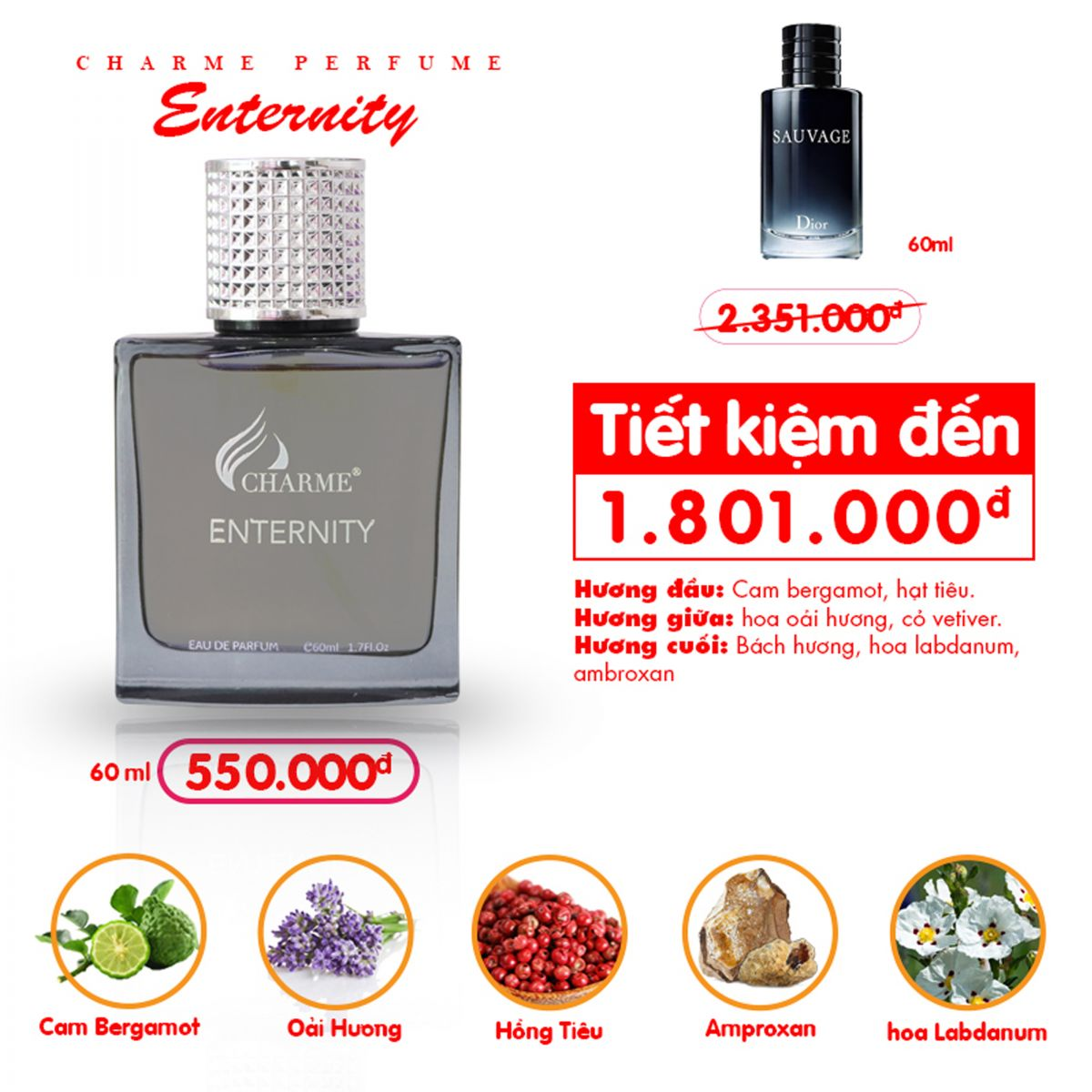 Charme - Enternity 60ml - Nuoc hoa nam