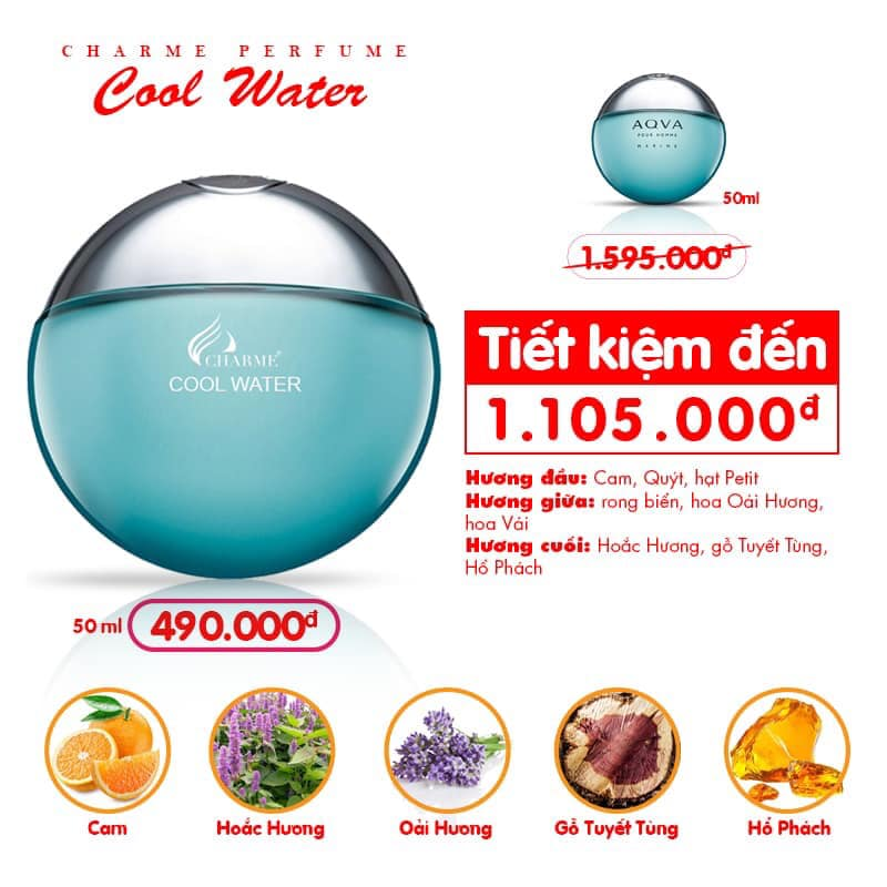 Charme - Cool Water 50ml - Nước hoa Nam
