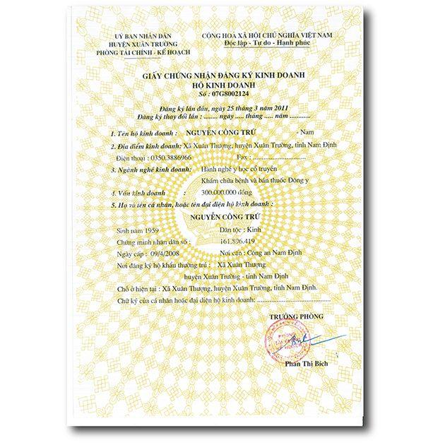 giấy chứng nhận kinh doanh